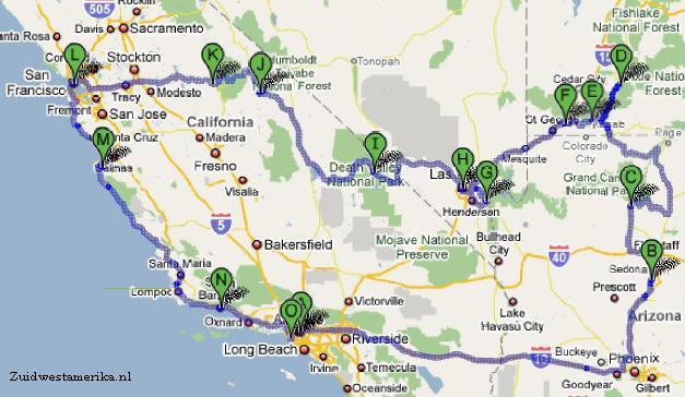 route door zuidwest amerika
